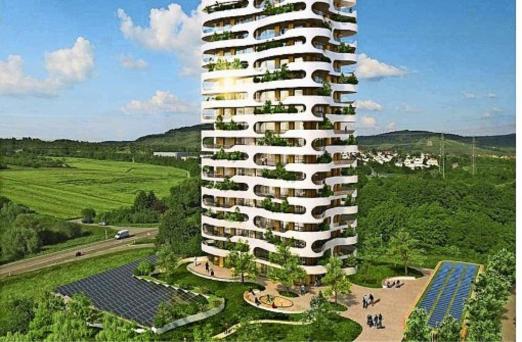 """So ähnlich könnte der """"grüne Daumen"""" aussehen. Hier der Entwurf der Architekten Steinhoff/Haehnel mit der GSG Gruppe Stuttgart als Investor."""